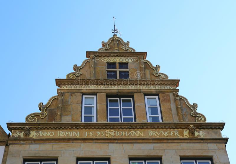 Historical Facades of Old Historic Building. In Bielefeld,Germany royalty free stock photos