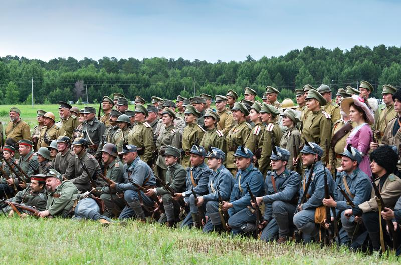 Historical festival Shadrinsk city, Russia June 25, 2017. Participants in the reconstruction of the events of the First world war stock photo