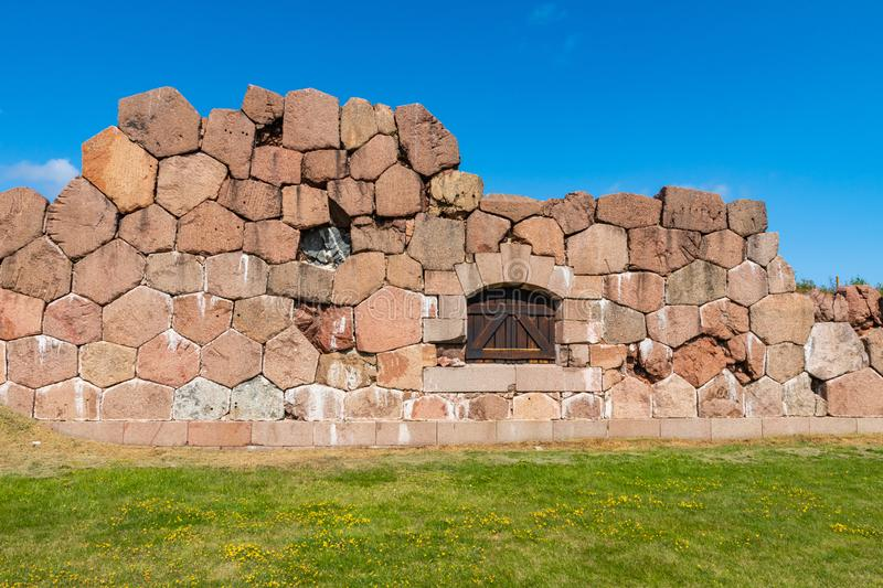 Historical fortified site of Bomarsund. Ruins of fortress. Finland war heritage. Aland islands, Finland. Europe.  royalty free stock photos
