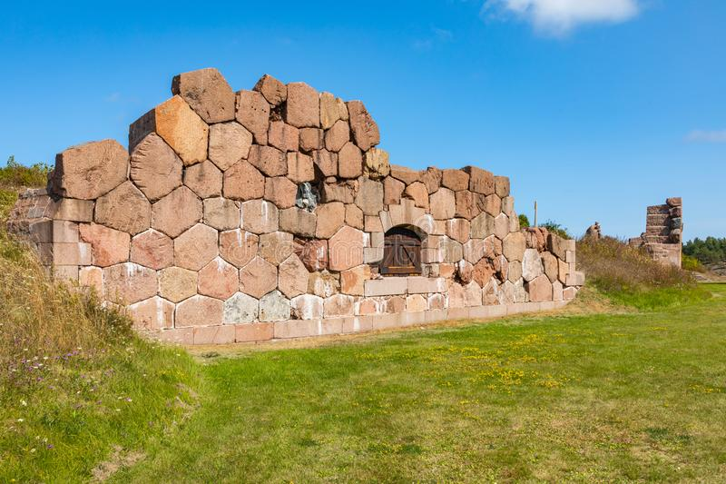 Historical fortified site of Bomarsund. Ruins of fortress. Finland war heritage. Aland islands, Finland. Europe.  royalty free stock image
