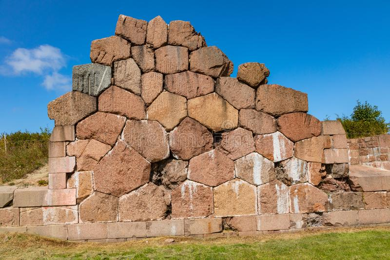 Historical fortified site of Bomarsund. Ruins of fortress. Finland war heritage. Aland islands, Finland. Europe.  stock images