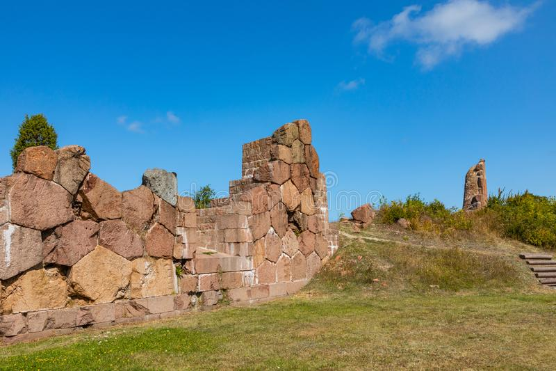 Historical fortified site of Bomarsund. Ruins of fortress. Finland war heritage. Aland islands, Finland. Europe.  royalty free stock photo