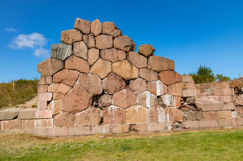 Historical fortified site of Bomarsund. Ruins of fortress. Finland war heritage. Aland islands, Finland. Europe.  royalty free stock photography