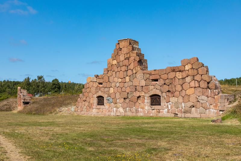 Historical fortified site of Bomarsund. Ruins of fortress. Finland war heritage. Aland islands, Finland. Europe stock image
