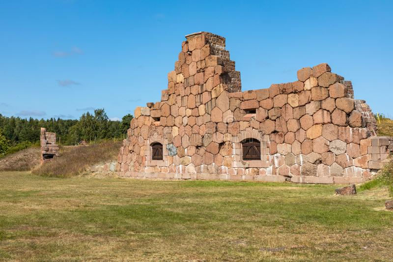 Historical fortified site of Bomarsund. Ruins of fortress. Finland war heritage. Aland islands, Finland. Europe royalty free stock photo