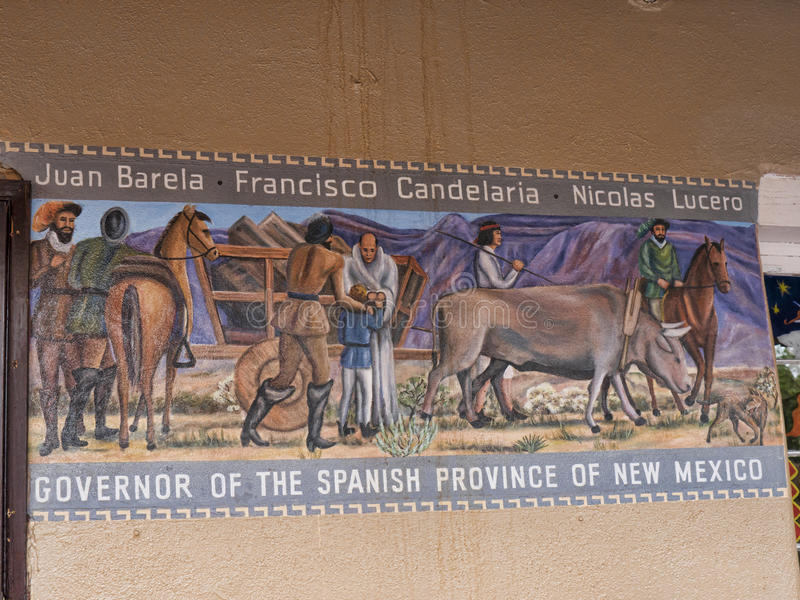 Historical Fresco in the Old Town of Albuquerque with its many galleries in New Mexico USA. The true Southwest of the USA in Albuquerque, New Mexico with a rich royalty free stock photography