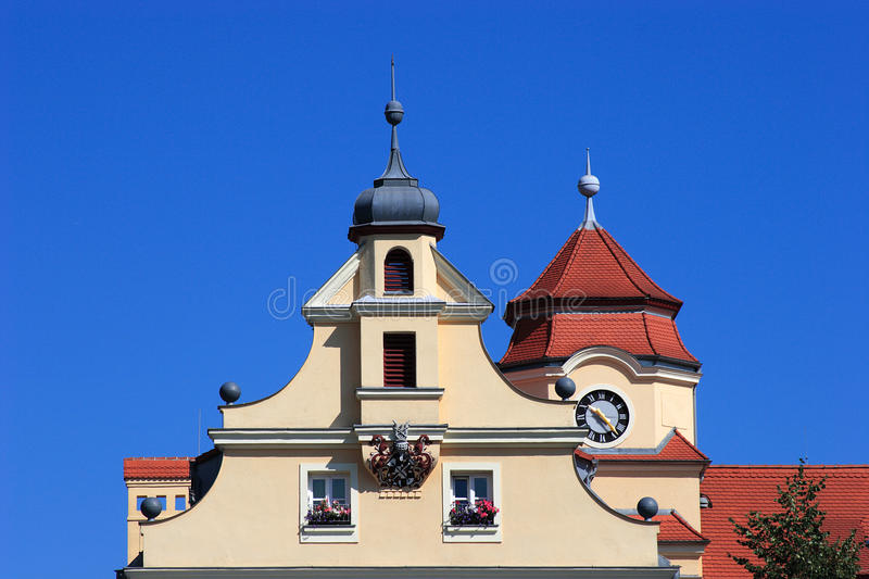 Historical gable. With emblem of the city of Bayreuth (Germany-Bavaria stock photos