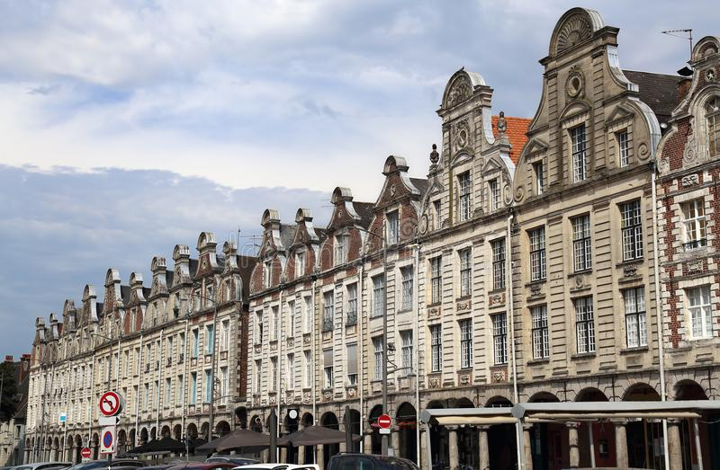 Historical houses on Grand Place in Arras, France. Historical gables of houses on the Grand Place in Arras, France royalty free stock images