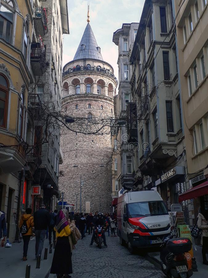 Galata Tower in Beyoglu Istanbul. Historical Galata Tower 6 Historic Buildings Sreet and People in Beyoglu Istanbul stock photos
