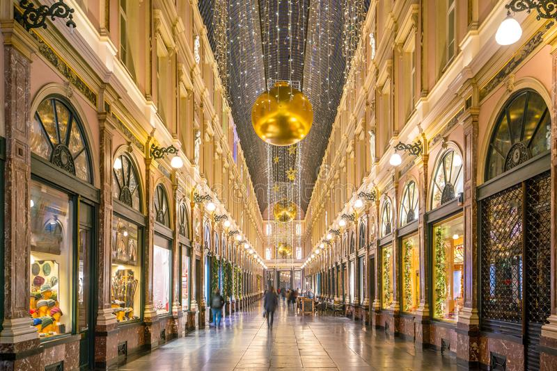 The historical Galeries Royales Saint-Hubert shopping arcades in. Brussels, Belgium royalty free stock photography
