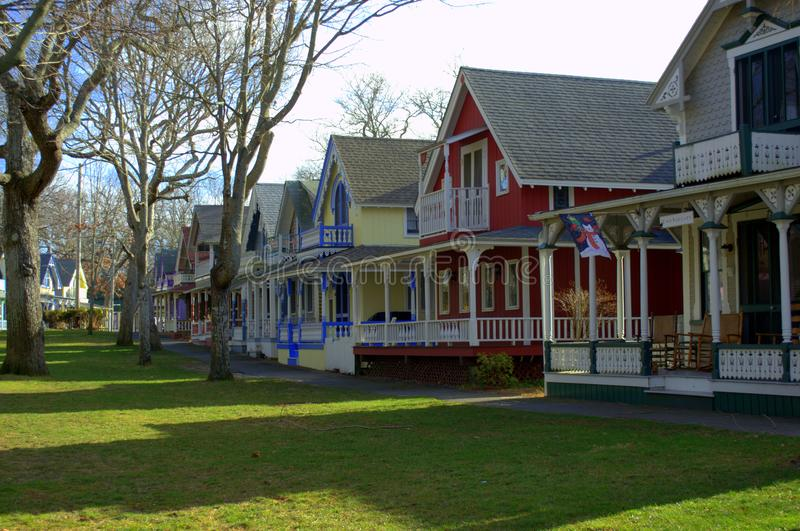 The Historical Gingerbread Houses of Martha`s Vineyard royalty free stock photo