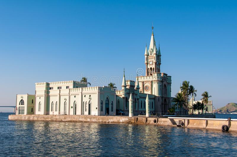 Historical Gothic Style Palace in Fiscal Island. Fiscal Island With Historical Gothic Style Palace Built by Emperor Pedro II, in Rio de Janeiro, Brazil royalty free stock photos
