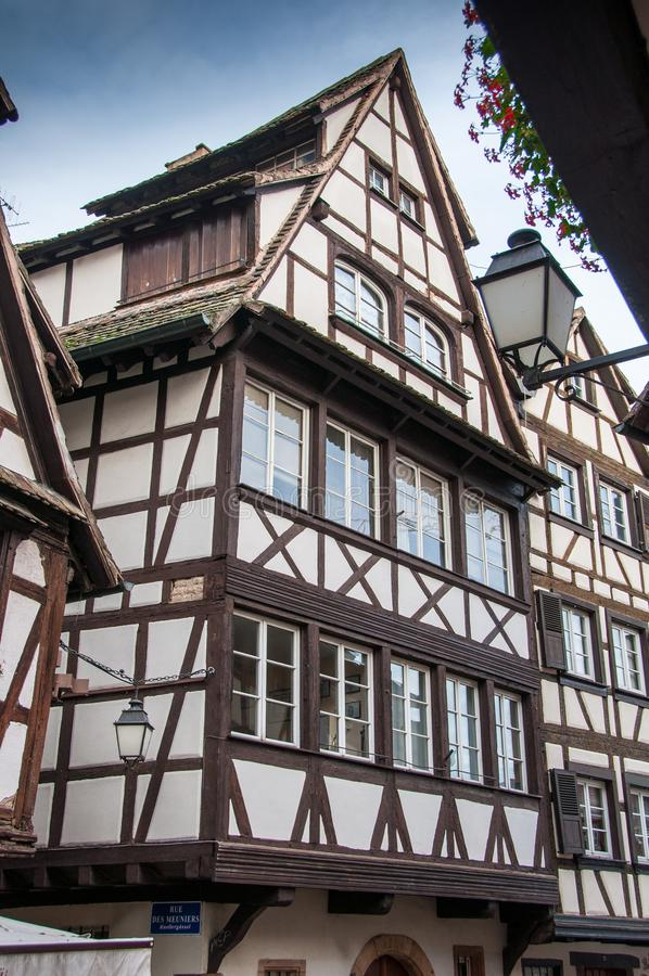 historical half-timbered houses in Strasbourg royalty free stock photo