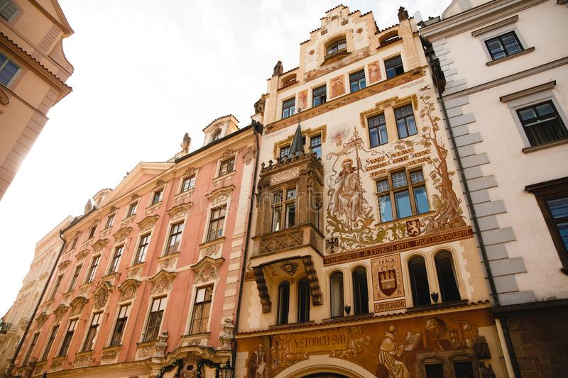Historical house facade of the Wenzel Storch house in the Old Town Square in Prague, Czech Republic royalty free stock photo