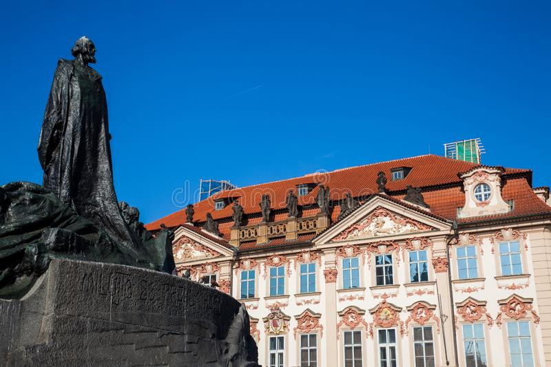 The historical Jan Hus Memorial at Old Town Square in Prague stock photography