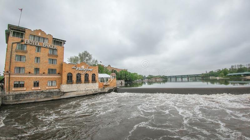 Historic Hotel Baker and Waterfront - Fox River - Saint Charles, IL royalty free stock photos