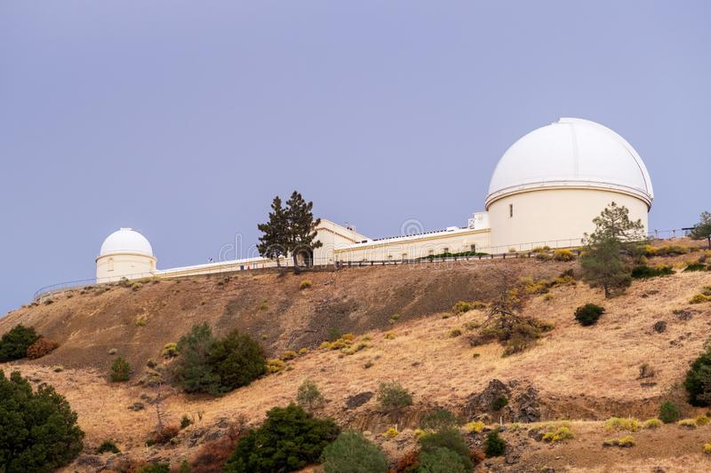 The historical Lick Observatory owned and operated by the University of California on top of Mt Hamilton; San Jose, San. Francisco bay area, California royalty free stock image