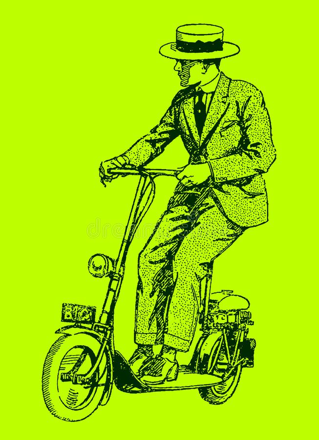 Historical man riding a motor scooter. Illustration on a green background after a lithography from the early 20th century. Editable in layers stock illustration
