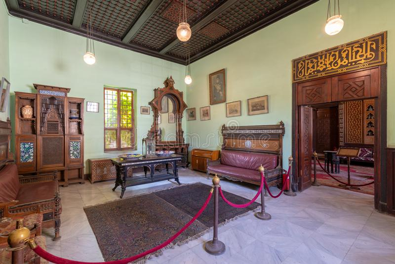 Manial Palace of Prince Mohammed Ali. Ceremonies Room with vintage furniture, Cairo, Egypt. Historical Manial Palace of Prince Mohammed Ali. Ceremonies Room with stock photos