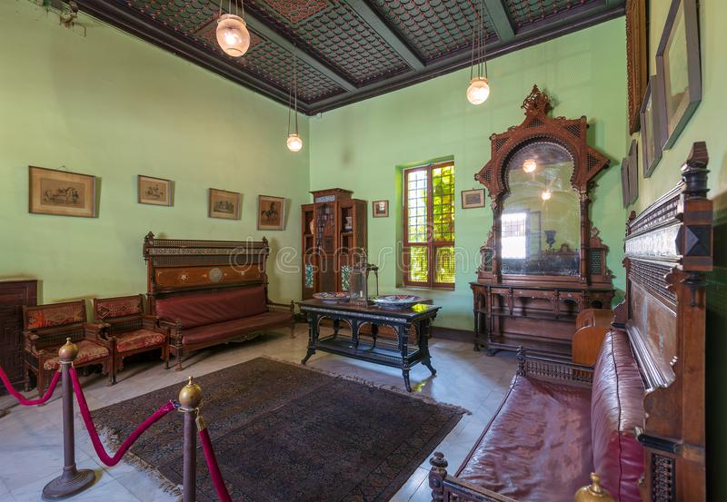 Manial Palace of Prince Mohammed Ali. Ceremonies Room with vintage furniture, Cairo, Egypt. Historical Manial Palace of Prince Mohammed Ali. Ceremonies Room with royalty free stock image