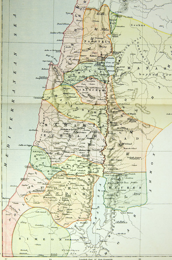Historical map of Palestine (Ansient Israel) royalty free stock image