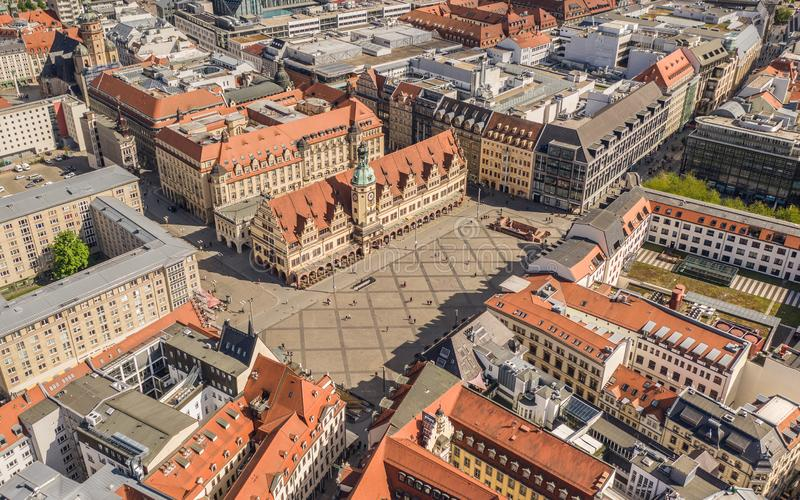 Historical market square in Leipzig. Aerial view of historical market square in Leipzig stock images