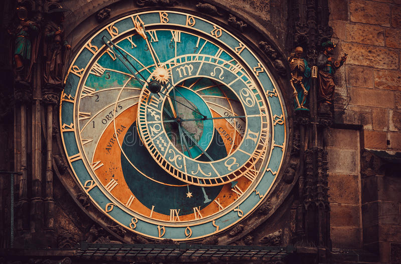 Historical medieval astronomical clock royalty free stock photos