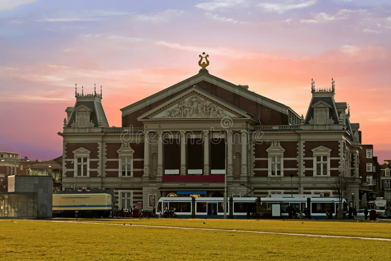 Historical medieval music building in Amsterdam the Netherlands royalty free stock image