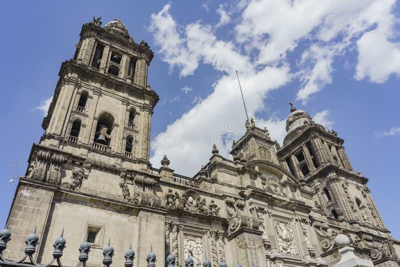 The historical Mexico City Metropolitan Cathedral. Morning view of the historical Mexico City Metropolitan Cathedral of Mexico City royalty free stock images
