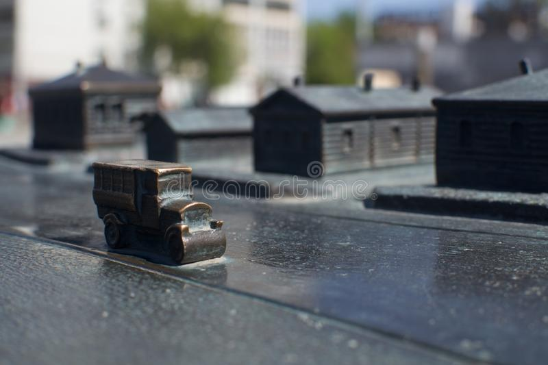Historical miniature scene cast iron old car stock photography