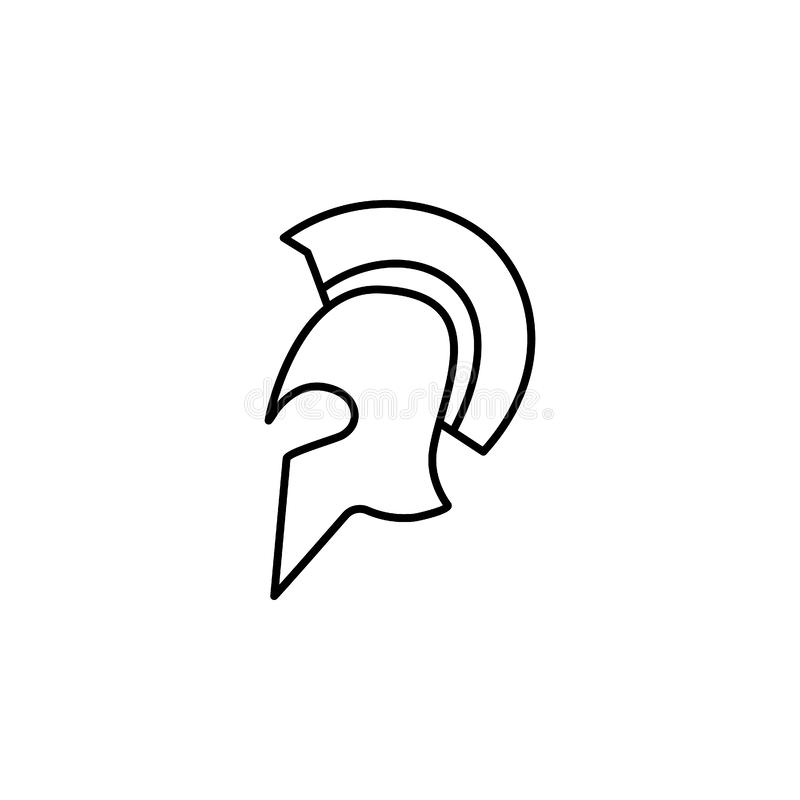 historical movie, helmet icon. Simple thin line, outline  of movie, cinema, film, screen, flicks icons for UI and UX, vector illustration