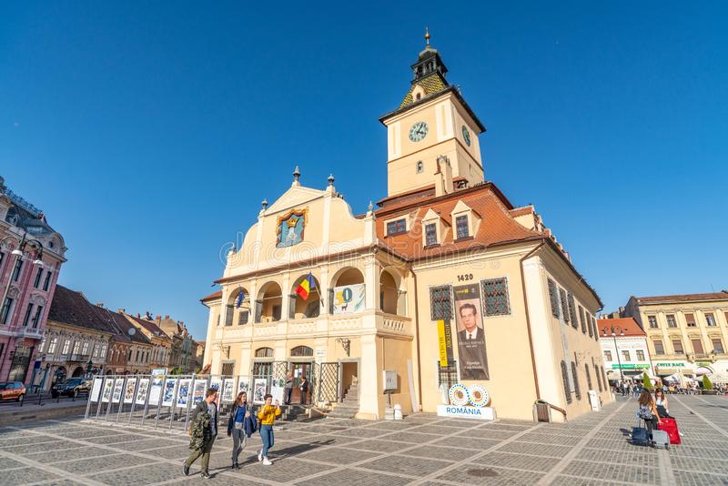 Historical Museum on the square of old Brasov, Romania. One of the ten largest cities in Romania. Located in the heart of Romania, the city of Brasov is stock image