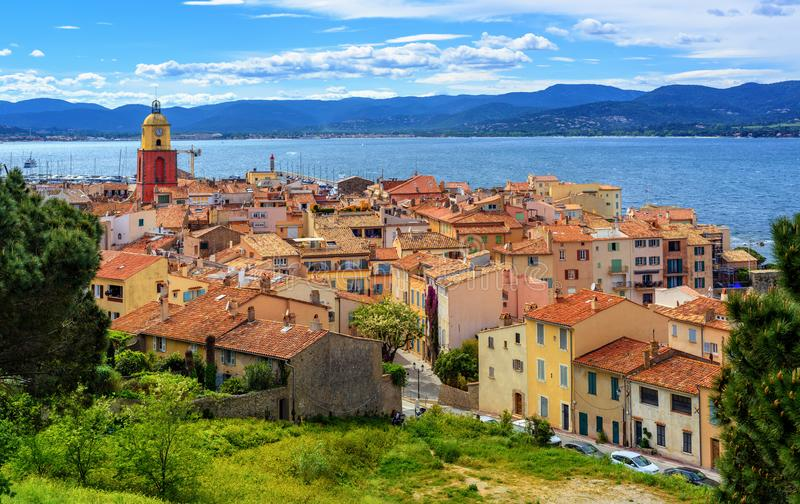 Historical Old Town of St Tropez, Provence, France. Colorful historical Old Town of St Tropez, a popular resort on Mediterranean sea, Provence, France royalty free stock photo