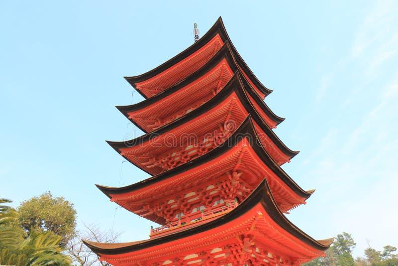 Historical pagoda temple in Miyajima Hiroshima Japan. Historical pagoda Toyokuni temple in Miyajima Hiroshima Japan stock photo