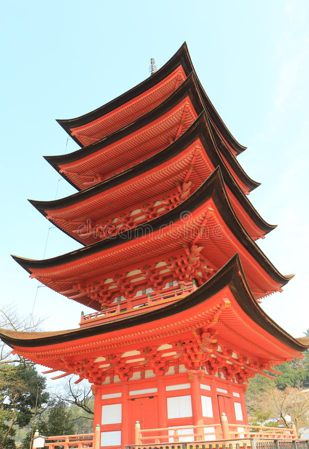 Historical pagoda temple in Miyajima Hiroshima Japan. Historical pagoda Toyokuni temple in Miyajima Hiroshima Japan royalty free stock photos