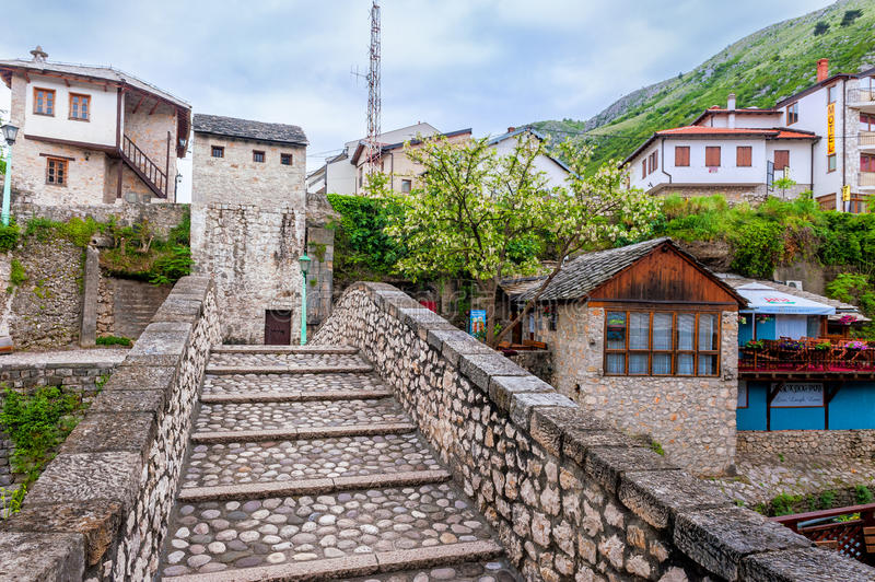 Historical part of the city of Mostar was built mainly in the sixteenth century and is now a tourist attraction. MOSTAR, BOSNIA AND HERZEGOVINA - APRIL 28: The royalty free stock photo