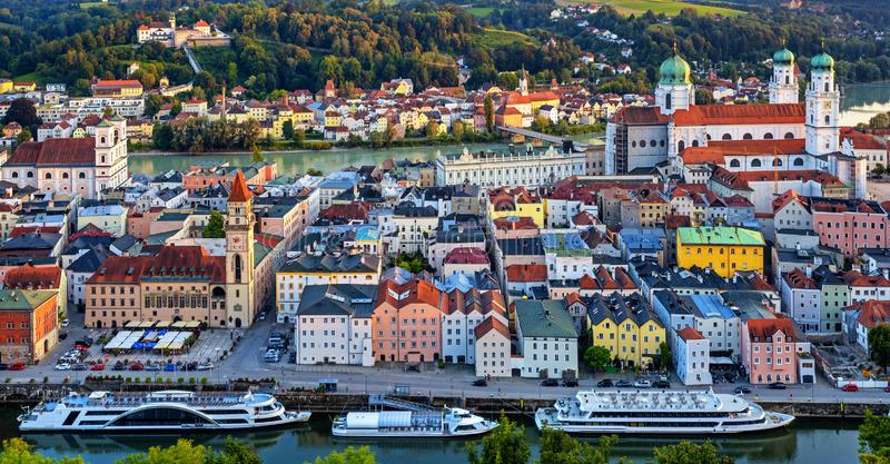 Passau Old Town between Danube and Inn rivers, Germany. Historical Passau Old Town situated between Danube and Inn rivers, Germany, is a popular river cruise stock photo