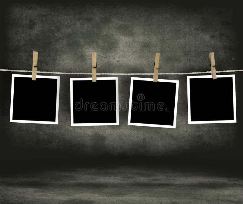 Historical photo concept. Old photo film blanks hanging on a rope held by clothespins vector illustration