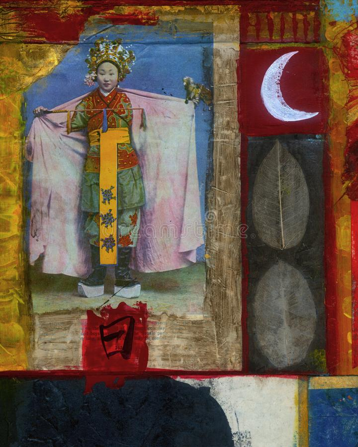 Moon Time Abstract Symbol Collage Painting. Historical photograph of a chinese royal with painted moon, leaves, and calligraphy stock images