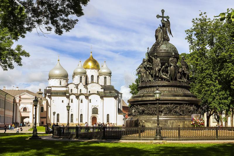 Historical place of Veliky Novgorod, Russia stock images