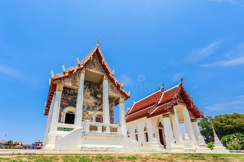 Historical place, Wat Ubosatharam. The temple houses many artifacts such as wall murals representing the style of early Rattanakos stock photos