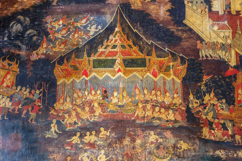 Historical place, Wat Ubosatharam. The temple houses many artifacts such as wall murals representing the style of early Rattanakos royalty free stock image