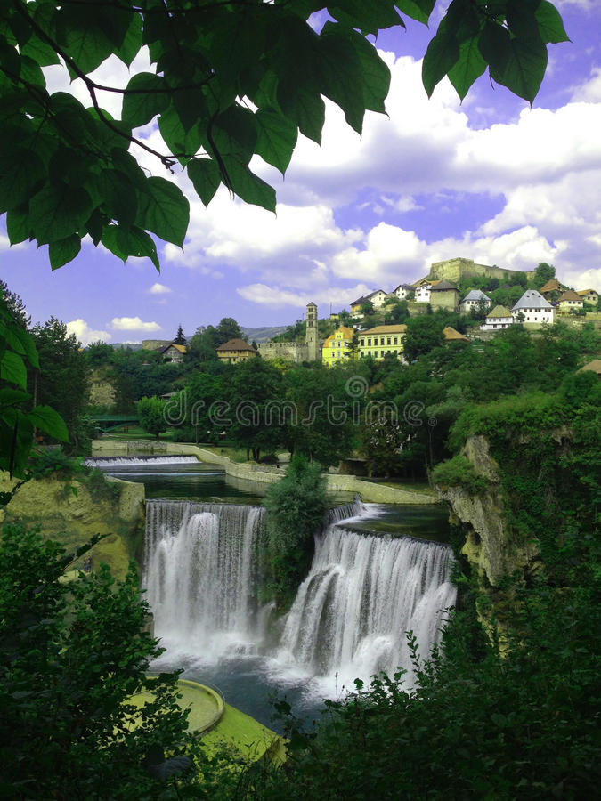 Historical places in bosnia and herzegovina. The town is also famous for its beautiful waterfall where the Pliva River meets the river Vrbas. It was 30 meters stock image