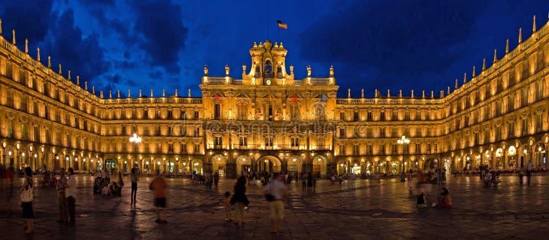 Historical Plaza Mayor at Night, Salamanca royalty free stock photo