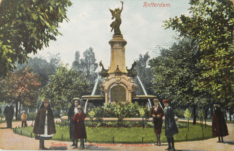 Historical postcard of Rotterdam in 1907 stock image
