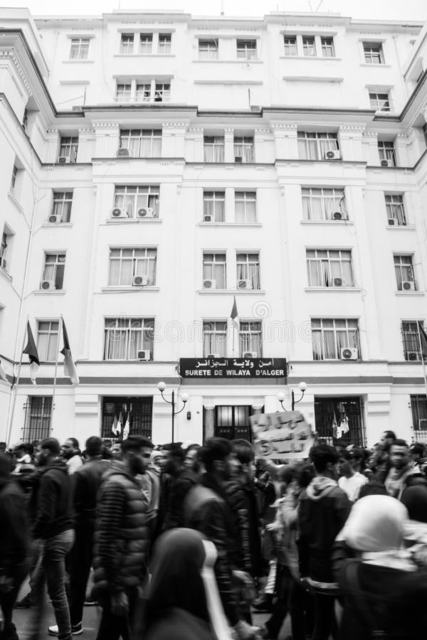 Historical protests in Algeria for changement. Algiers, Algeria - March 01 2019 : Important peaceful demonstrations in the Algerian capital; Algiers, protesting royalty free stock photography