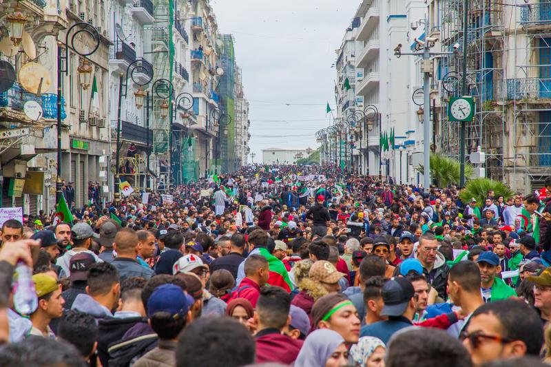 Historical protests in Algeria for changement. Algiers, Algeria - March 01 2019 : Important peaceful demonstrations in the Algerian capital; Algiers, protesting stock photography