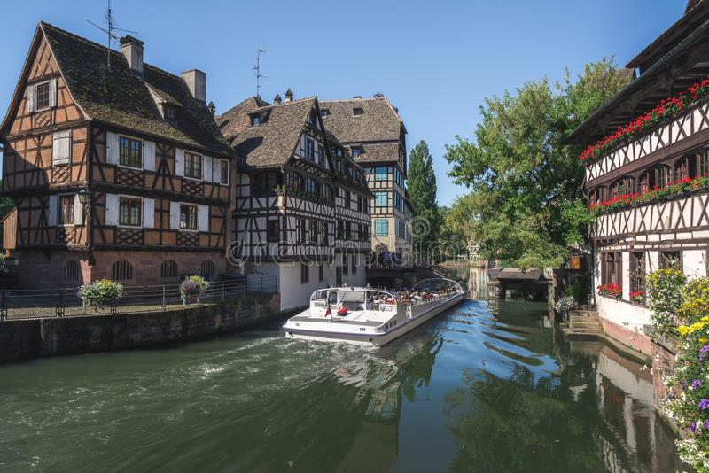 Historical quarter and Ill river in Strasbourg stock photography