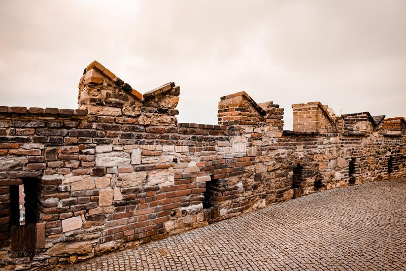 Historical quarter of Prague. The fortress brick wall of the ancient Prague Castle. Europe royalty free stock photography