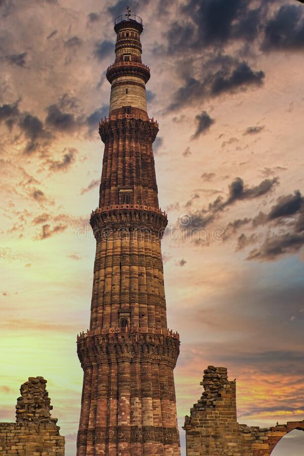 Qutab Minar a UNESCO world heritage site in New Delhi, India. Historical Qutab minar in New Delhi , India is an example of mogul architecture royalty free stock image
